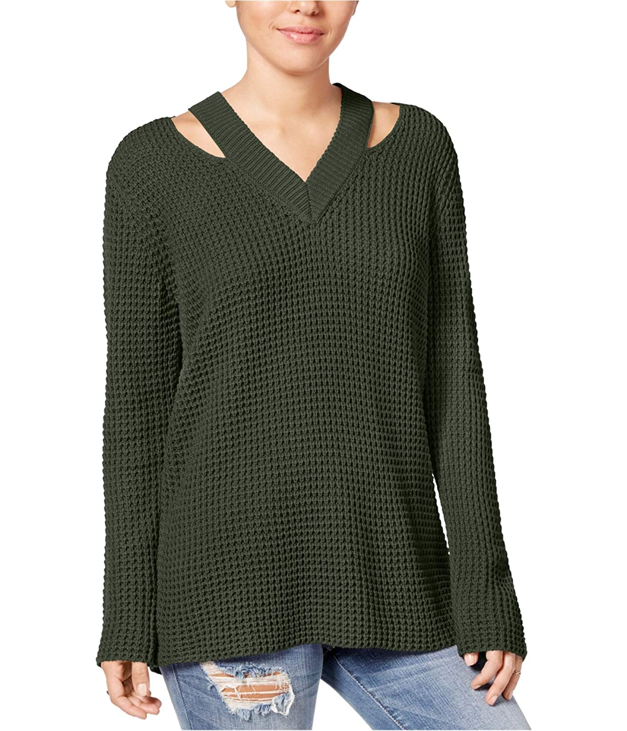 Hooked Up by IOT Womens Juniors Cut-Out V-Neck Pullover Sweater