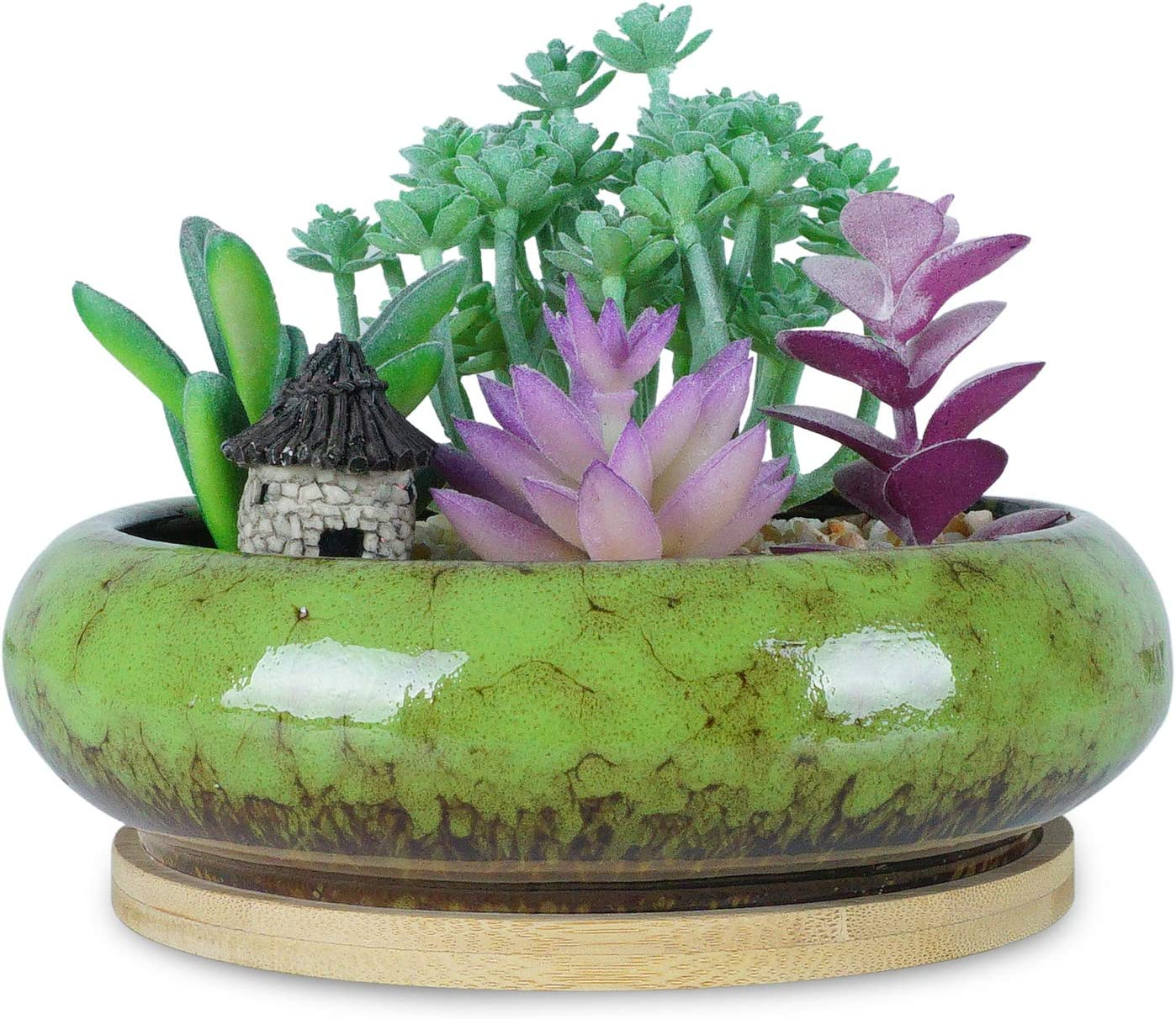 ARTKETTY 6.1 inch Round Succulent Planter Pots with Drainage Hole Bonsai Pots Garden Decorative Cactus Stand Ceramic Glazed Flower Container Bowl Green, with Bamboo Tray