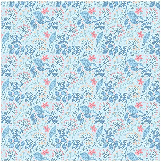 "Blue Floral Print 100/% Pure Cotton Fabric 43"" Wide Sewing Material By 1 Yard"