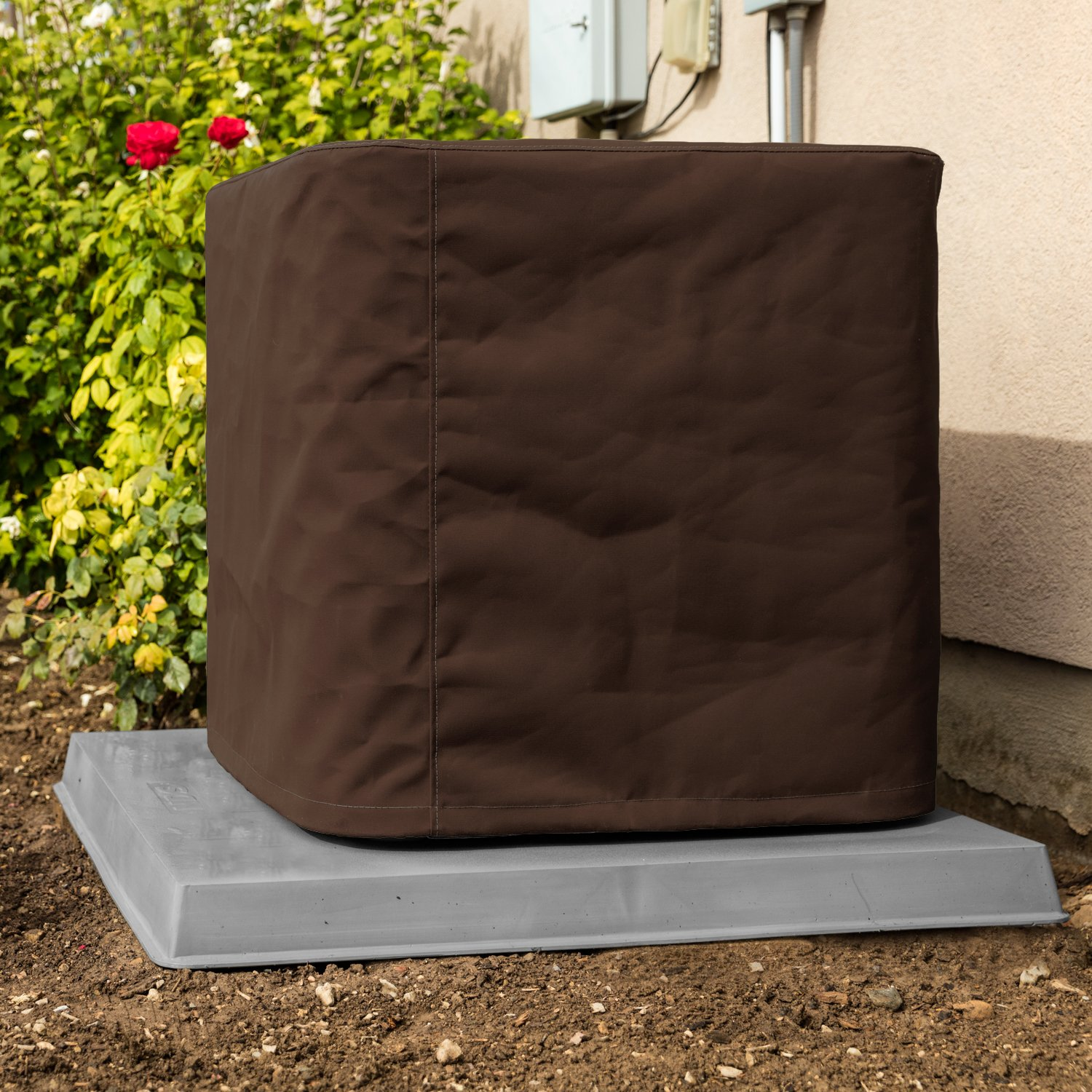 Custom Air Conditioner Cover - Made-to-Order for your exact Make & Model Number - Ultimate Sunbrella Canvas - True Brown - Made in the USA - 10-year Warranty