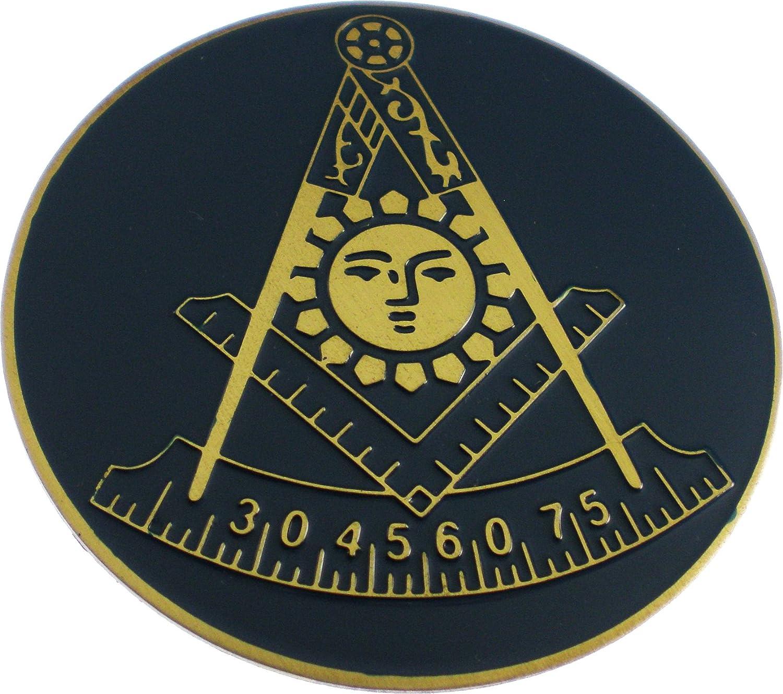 Mason Past Master Symbol Etched Round Car Emblem [Gold - 2']