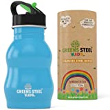 Kids Stainless Steel Water Bottle 12 oz Leak Proof Sippy Cup with Sport Cap & Straw - Reusable Toddler & Child Friendly