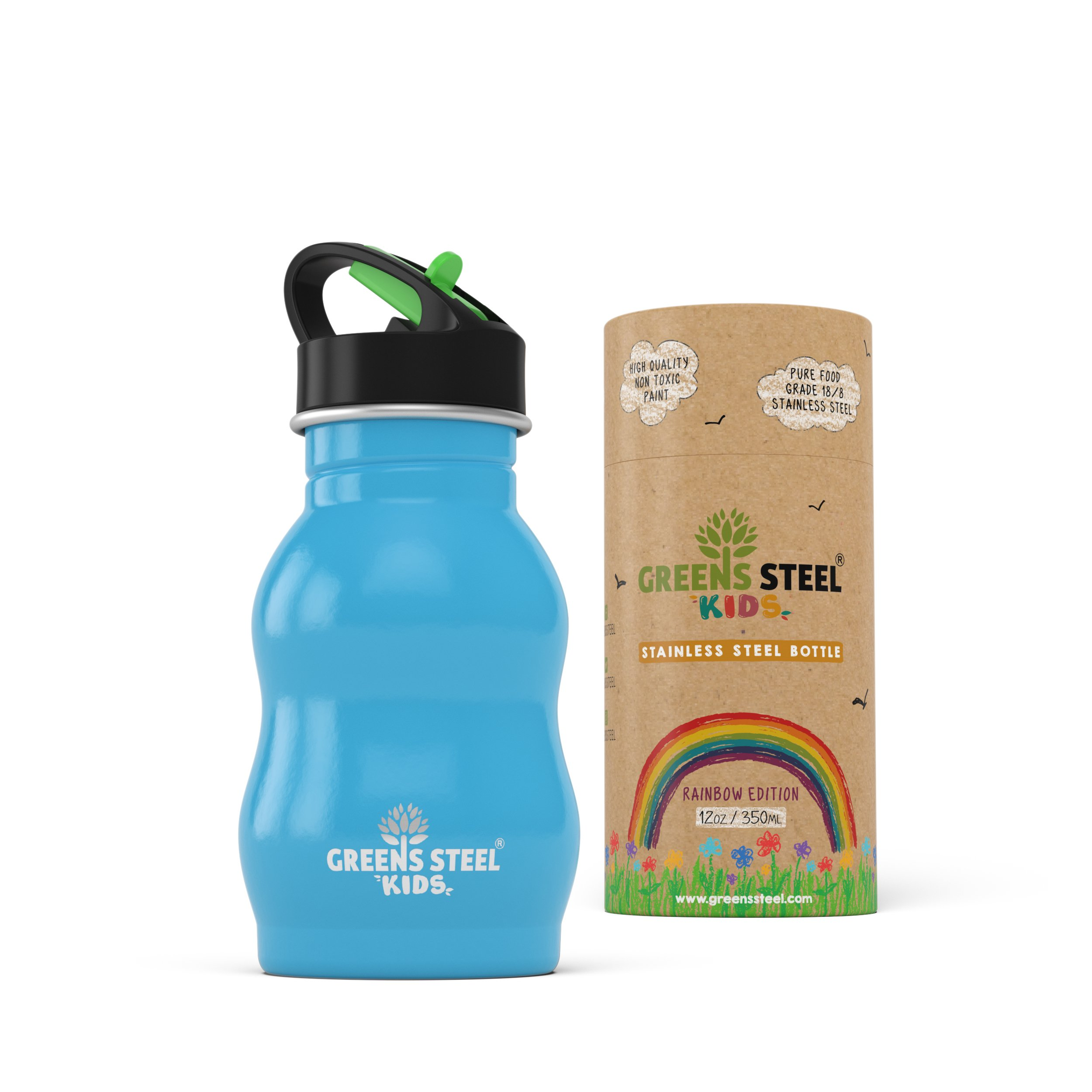 Kids Stainless Steel Water Bottle 12 oz - Sippy Cup Leak Proof Sports Cap with Straw - Metal Kids Bottle - Toddler Child Friendly Flask (Blue)