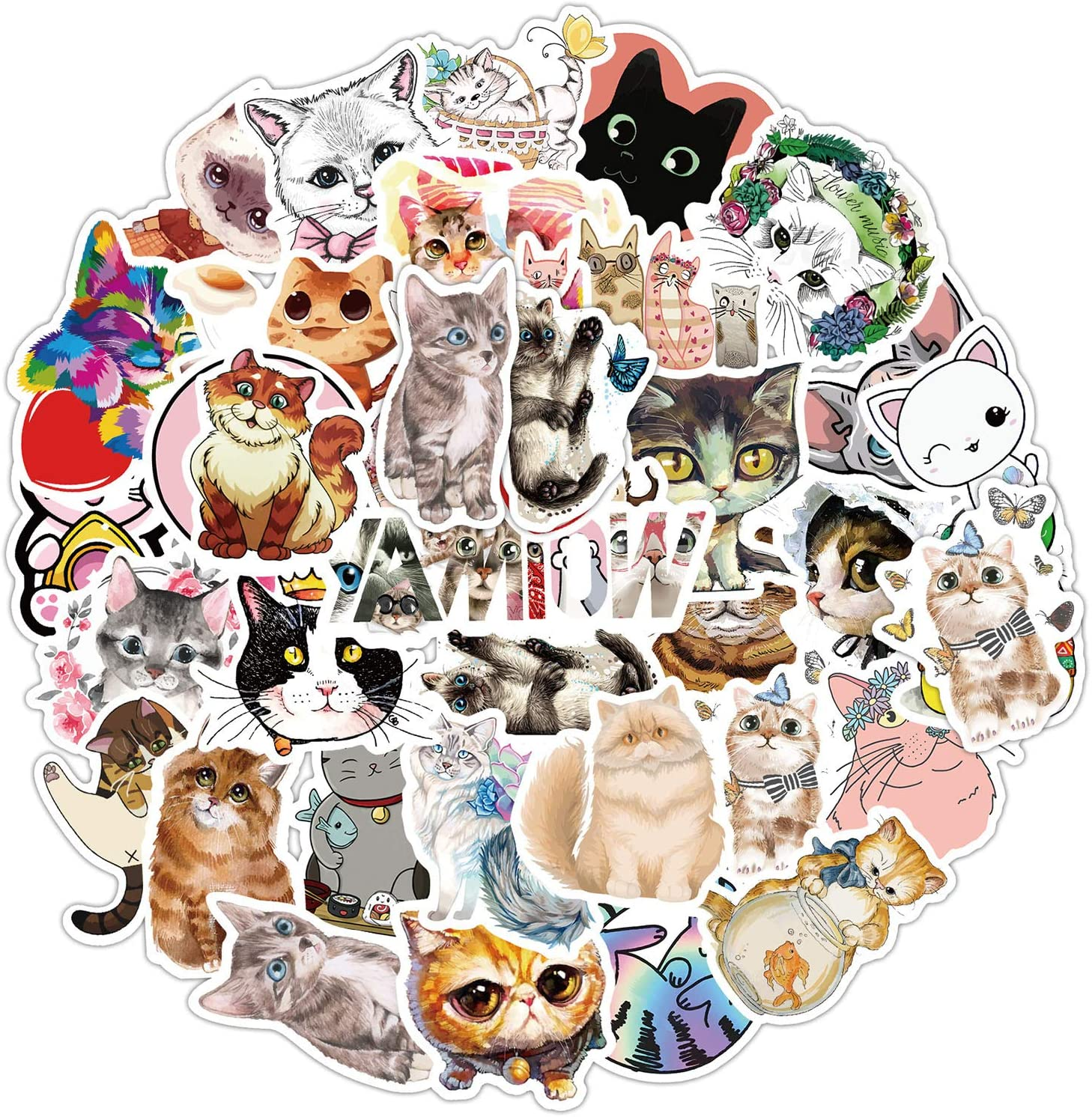 80Pcs Cute Waterproof Cats Vinyl Stickers Funny Animals Sticker for Laptop Guitar Car Suitcase Fridge Water Bottle Bicycle Decals DIY