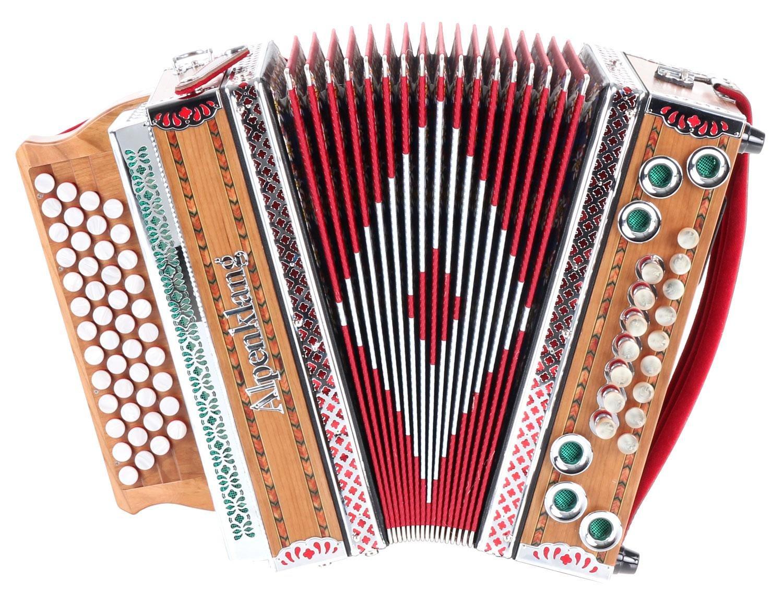 Alpenklang 4/III Classic N Harmonika (B-Es-As-Des Stimmung, 46 Knopftasten, 16 Helikon-Bässe, Dural-Stimmzungen, inkl. robustem Koffer) 16 Helikon-Bässe