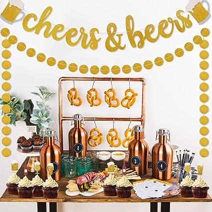 Amazon.com: Cheers & Beers - Guirnalda con purpurina dorada ...