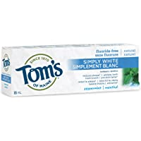 Tom's of Maine Simply White Fluoride-Free Natural Toothpaste, Peppermint, 85 mL