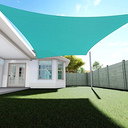 TANG Sunshades Depot 22' x13' Sun Shade Sail Square Permeable Canopy Green Turquoise Custom Commercial Standard 180 GSM HDPE