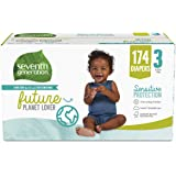Seventh Generation Baby Diapers, Size 3, 174 count, One Month Supply, for Sensitive Skin