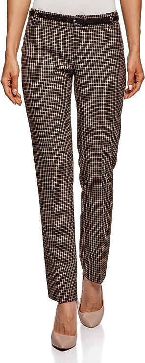 oodji Ultra Mujer Pantalones Básicos con Cinturón: Amazon.es: Ropa y accesorios