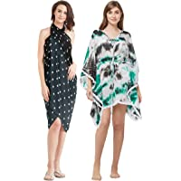 SOURBH Women's Soft Wrap Beach Wear Sarong & Kaftan with Waistband Swimsuit Cover Up Pareo Dress in Combo Value Pack - Set of 2 (Free Size)