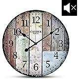 Cander Berlin MNU 7030 Vintage Wanduhr aus MDF mit lautlosem Uhrwerk - 30,5 cm Ø - kein nerviges Ticken