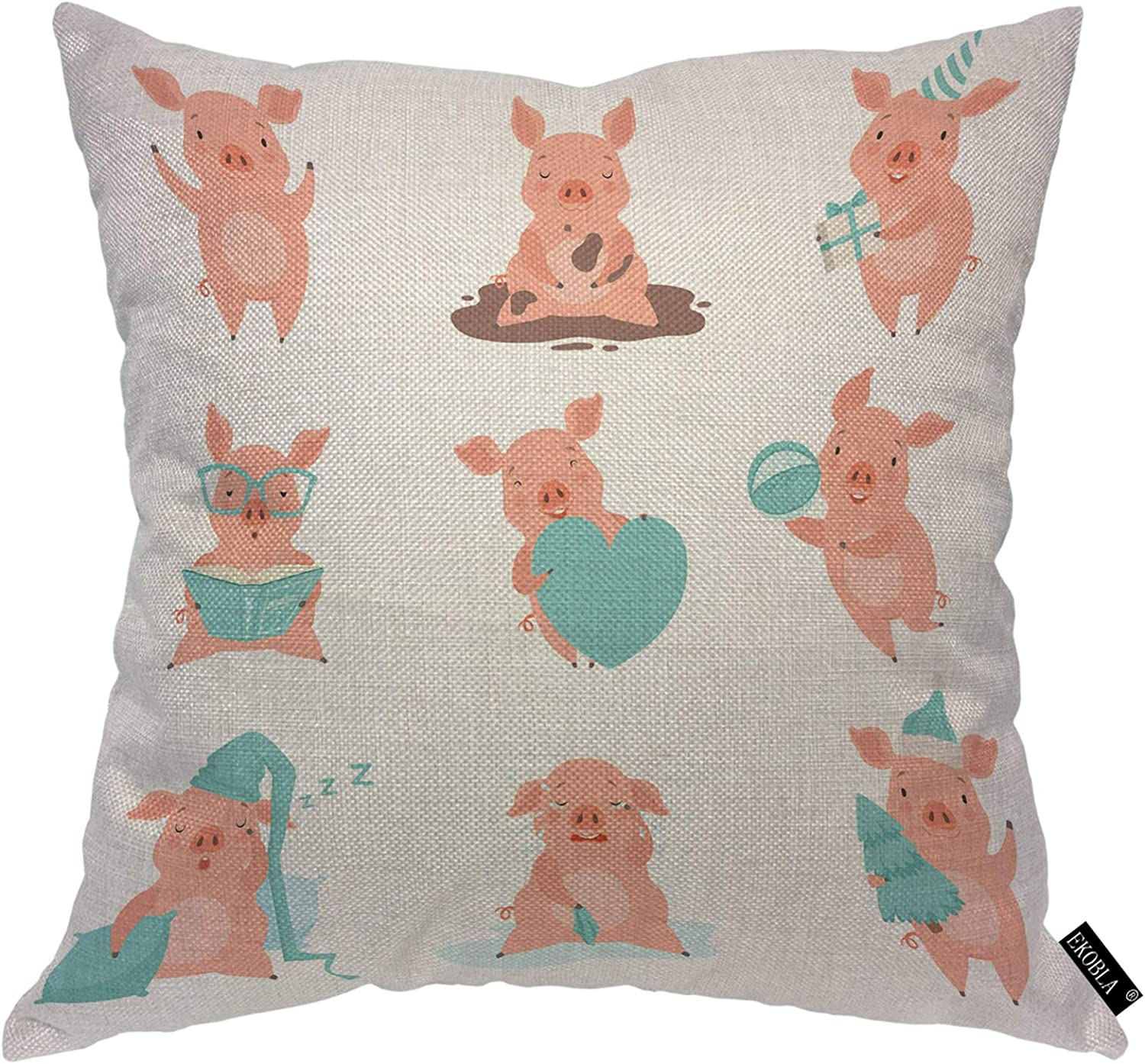 EKOBLA Pink Pigs Throw Pillow Cover Cute Cheerful Funny Piglets Cartoon Characters Adorable Animal Cozy Square Cushion Case for Men Women Boys Girls Room Home Decor Cotton Linen 18x18 Inch