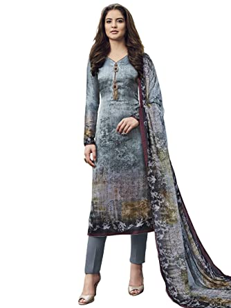 51fa3625fa Stylee Lifestyle Grey Satin Printed Dress Material  Amazon.in  Clothing    Accessories