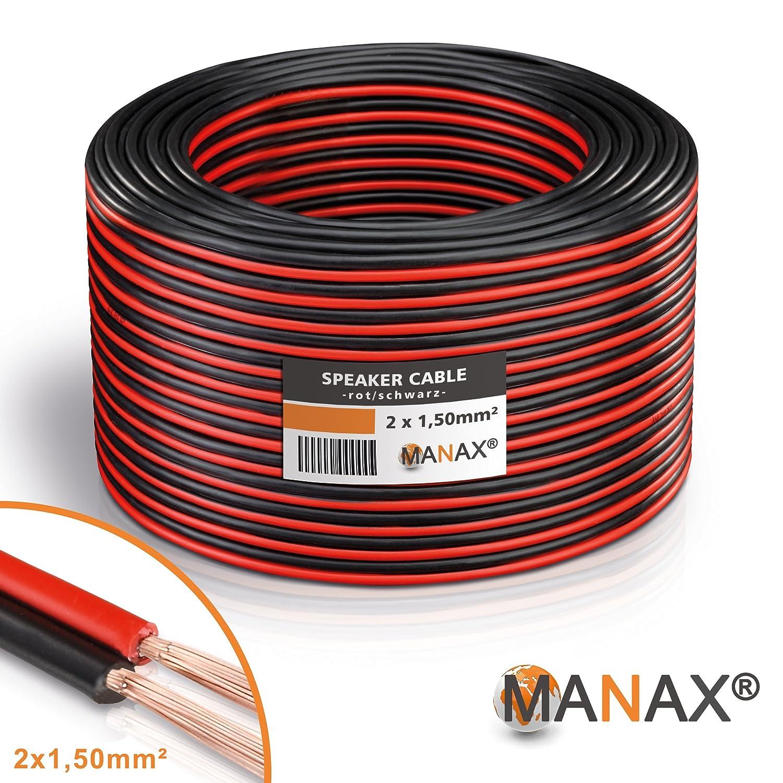 Manax Lautsprecherkabel Boxenkabel 2 x 1,50 mm² CCA rot/schwarz 50 m ...