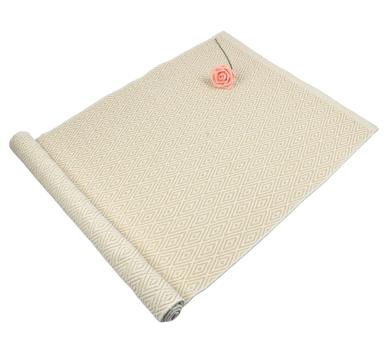 "Homcomoda Non Slip Braided Area Rug Washable Hand Made Cotton Kitchen Rugs Runners Machine Washable Floor Carpet Door Mat Rug 17.7"" by 27.5""(Beige)"
