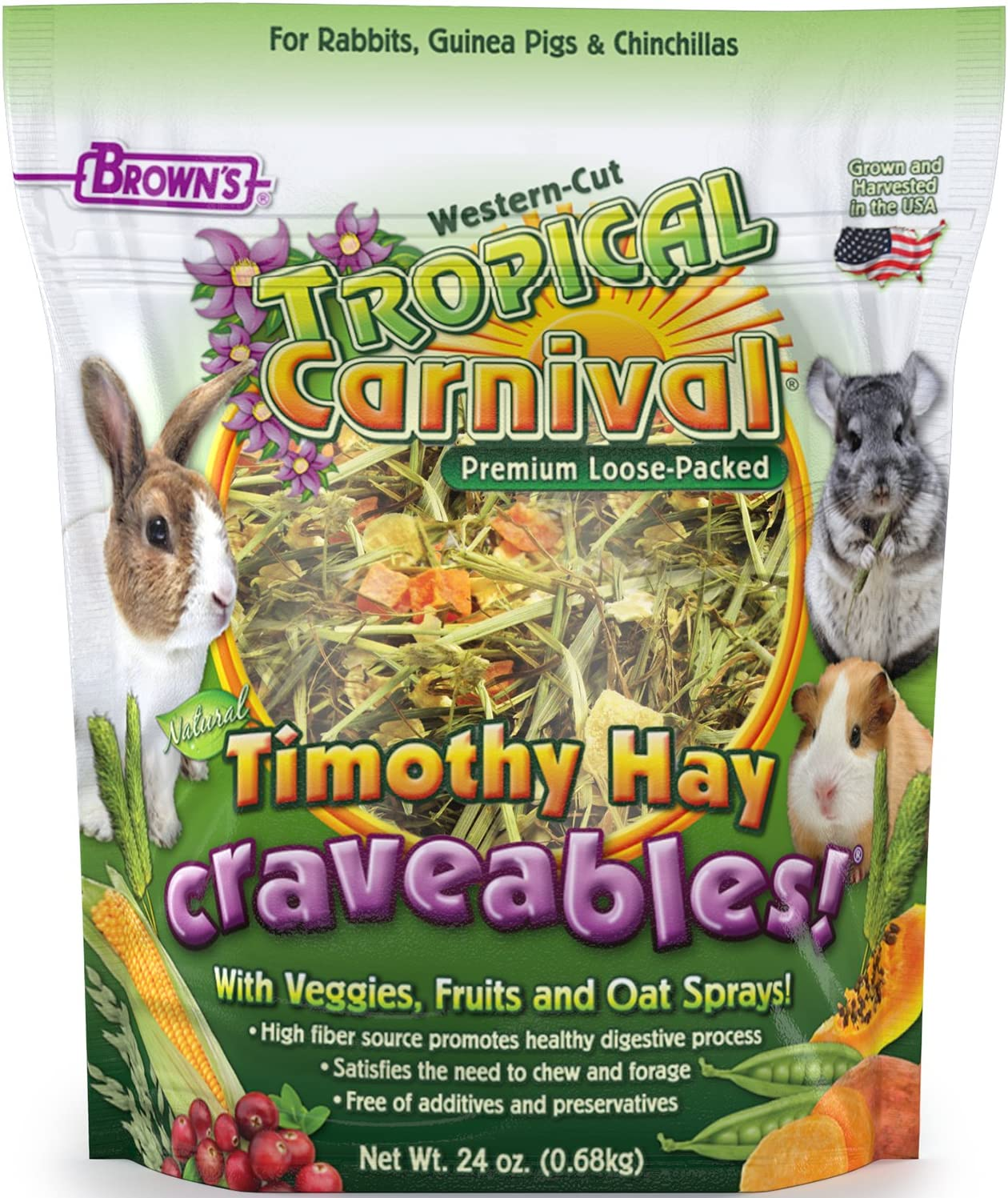 F.M. Brown's Tropical Carnival Natural Timothy Hay Craveables with Veggies, Fruits, and Oat Sprays, Foraging Treat with High Fiber for Healthy Digestion, 24oz