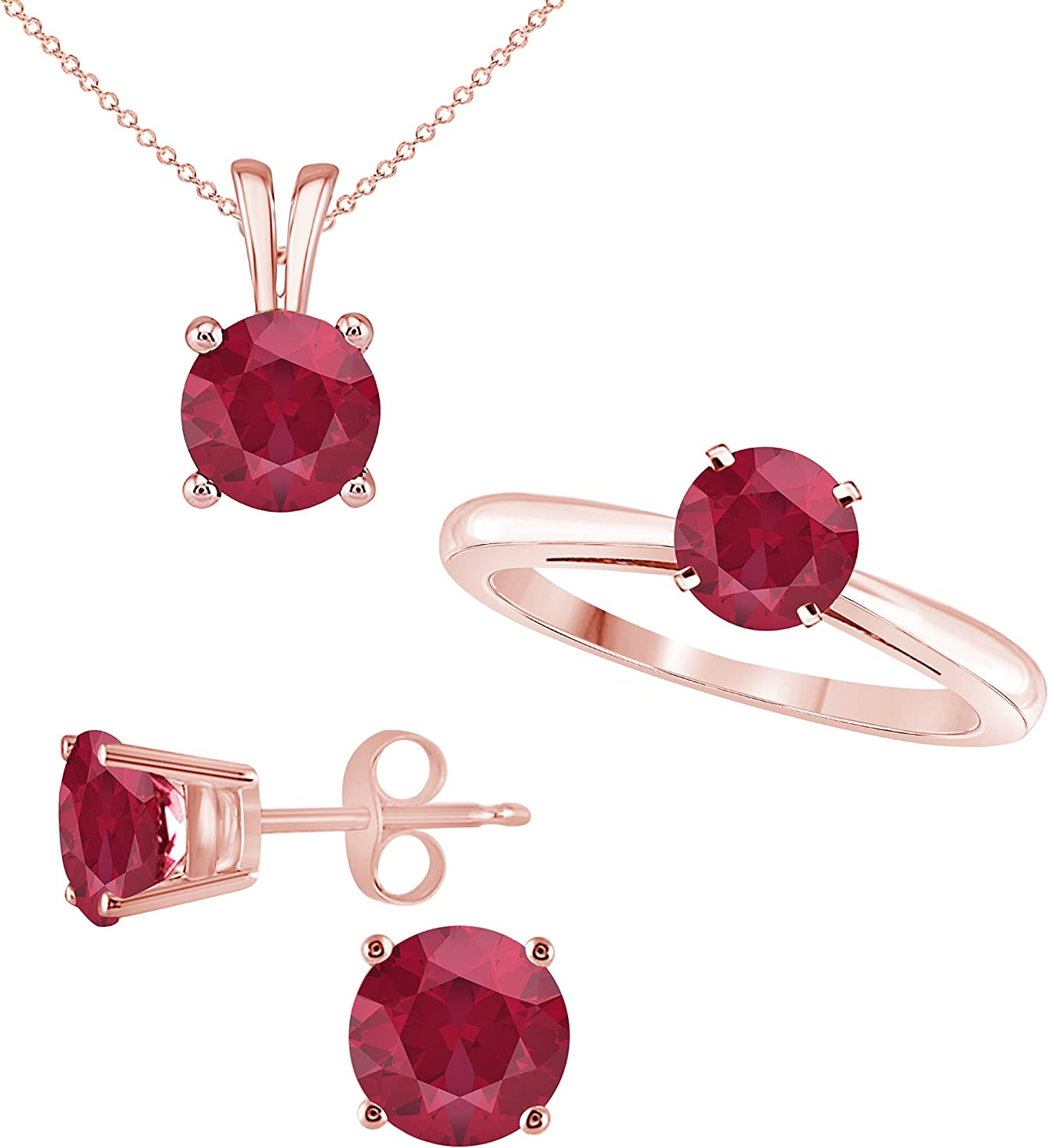 Star Retail Gorgeous Beautiful Round Shape Brilliant Cut Lab Created Red Ruby Ring Pendant and matching Earrings Jewelry Set in 14K Rose Gold Finish