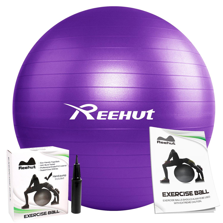 REEHUT Anti-Burst Core Exercise Ball w/Pump & Manual for Yoga, Workout, Fitness (Purple, 65cm)
