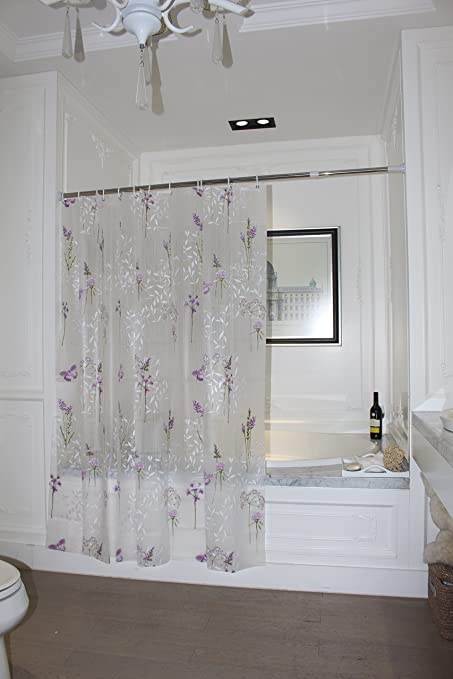 Shower Curtain Translucent Half Clear Semi Transparent Purple Flowers Floral Leaf Butterfly Pretty Elegant Pattern Print