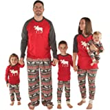 Lazy One Matching Christmas Pajamas for The Family Moose Fair Isle | Women Men Boys Girls and Infant Sizes