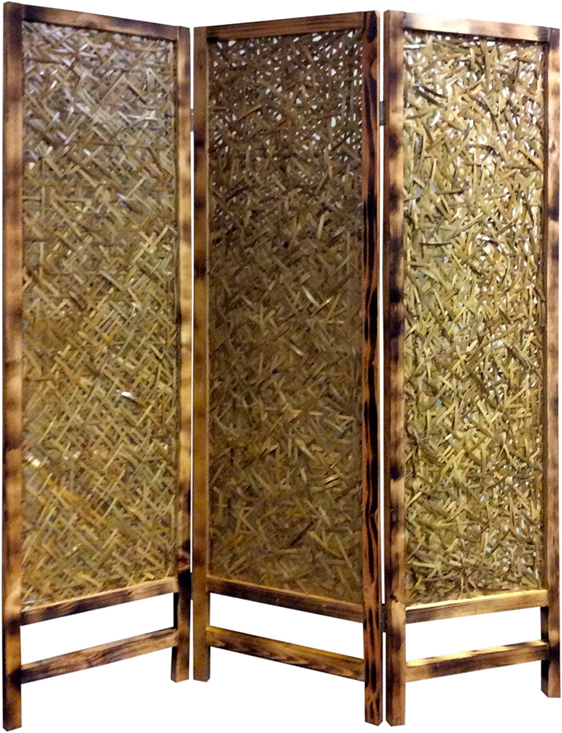 Benjara 3 Panel Traditional Foldable Screen with Entwine Bamboo Design, Brown