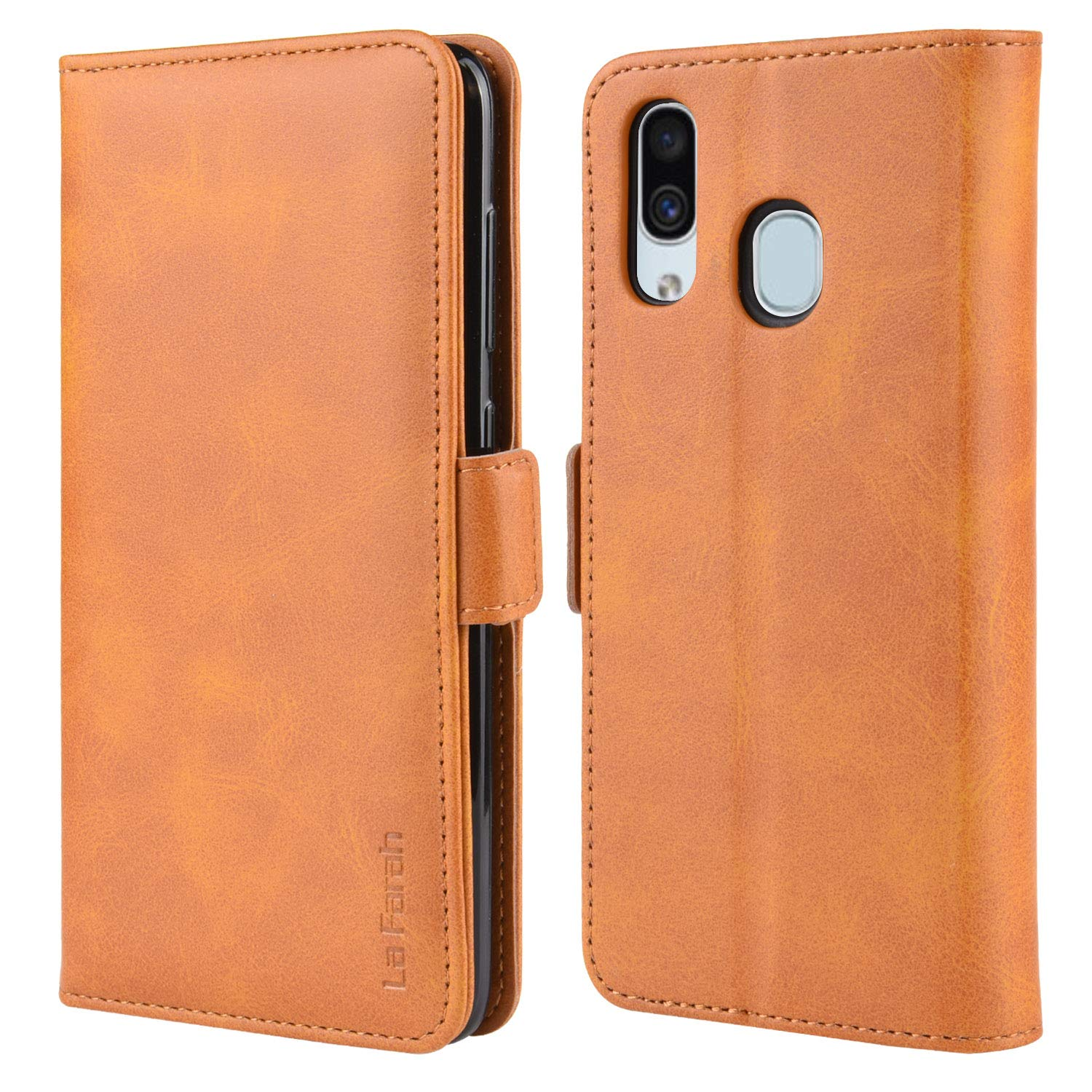 La Farah Samsung Galaxy A20 Case,Leather Cell Phone Wallet Flip Case Protective Phone Cover with Card Holders and Kickstand for Samsung Galaxy A20 - Vintage Orange by La Farah