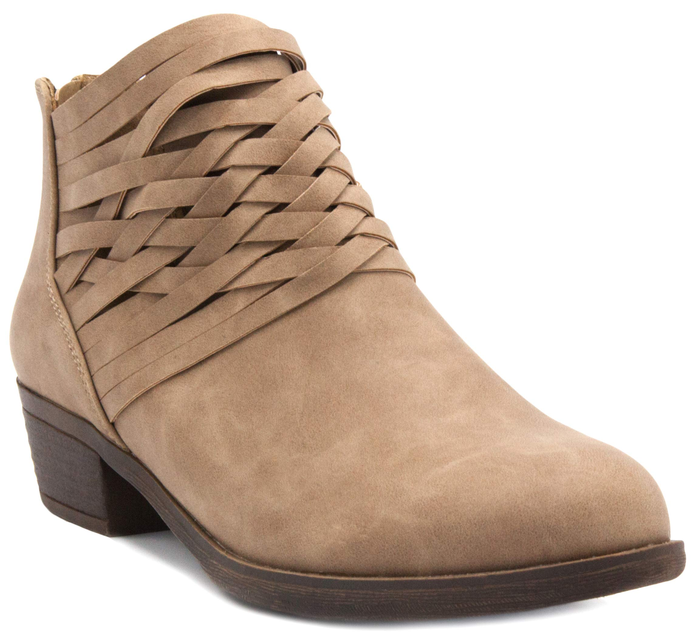 Rampage Women's Rhodie Dress Block Heel Ankle Boot, Ladies Back Zip Bootie with Criss Cross Wraparounds Taupe 10