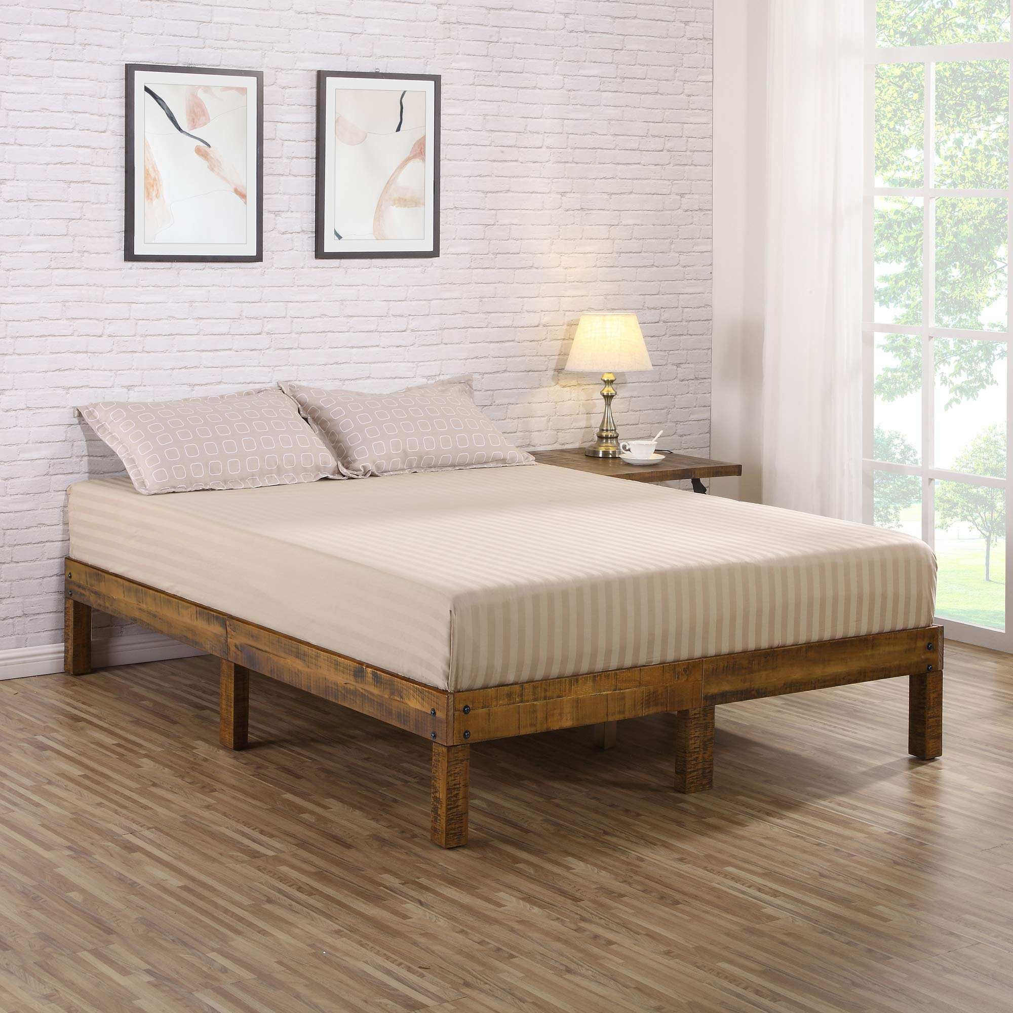 Olee Sleep VC14SF01Q-1 14 inch Solid Wood Platform Bed/Natural Finish, Queen, Brown