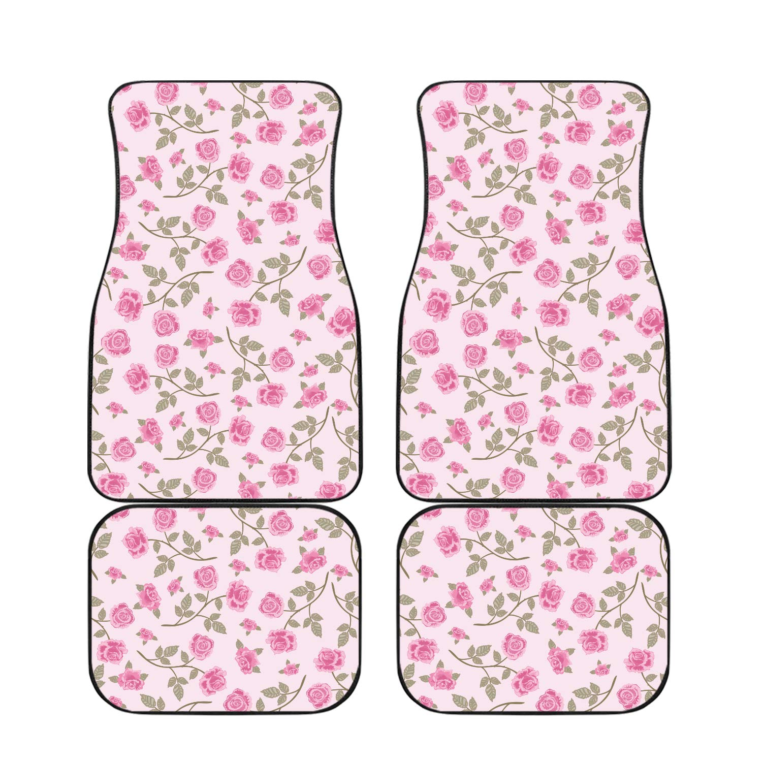 HotCarCovers Car Mats for Women 4-Piece Set for Shabby Chic Pink Roses Universal Fit Front and Back Car Mat