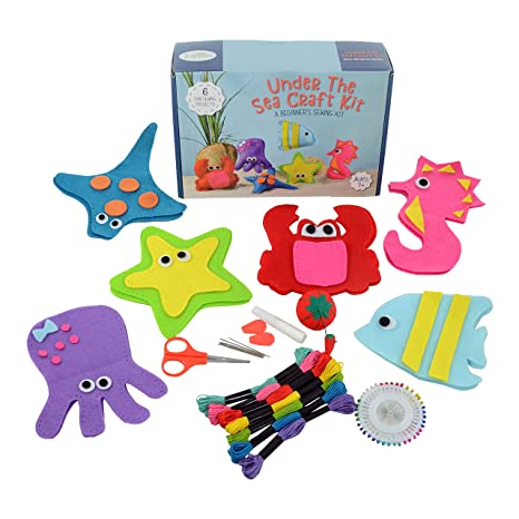 Jueybean Kid Craft Felt Kit 6 Cute Sea Animals Beginners Sewing Kits Little Kids Ages 7 To 12 Easy Childrens First Sew Kit Great For Travel