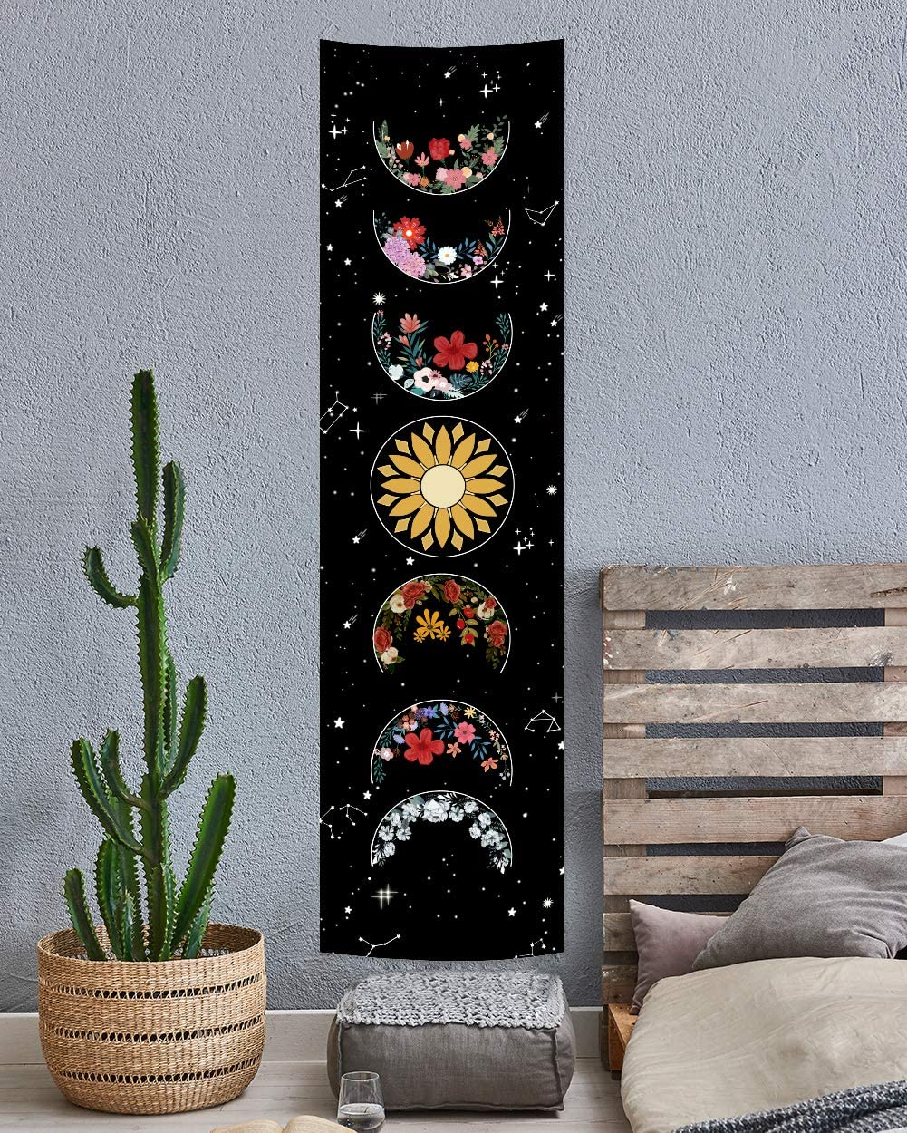 Moon Phase Tapestry Wall Hanging Flowers Moon Black and White Wall Art Tapestry for Badroom Living room Dorm Home Decor (Black, L:16x59 inch)