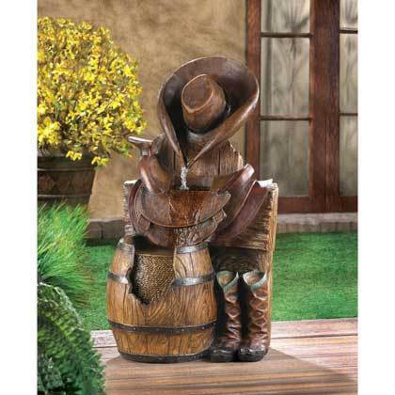 western country cowboy boot horse saddle Statue birdbath Outdoor Garden Fountain