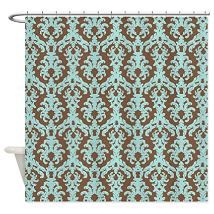 Gentil CafePress   Turquoise And Brown Damask Shower Curtain   Decorative Fabric Shower  Curtain (69u0026quot;