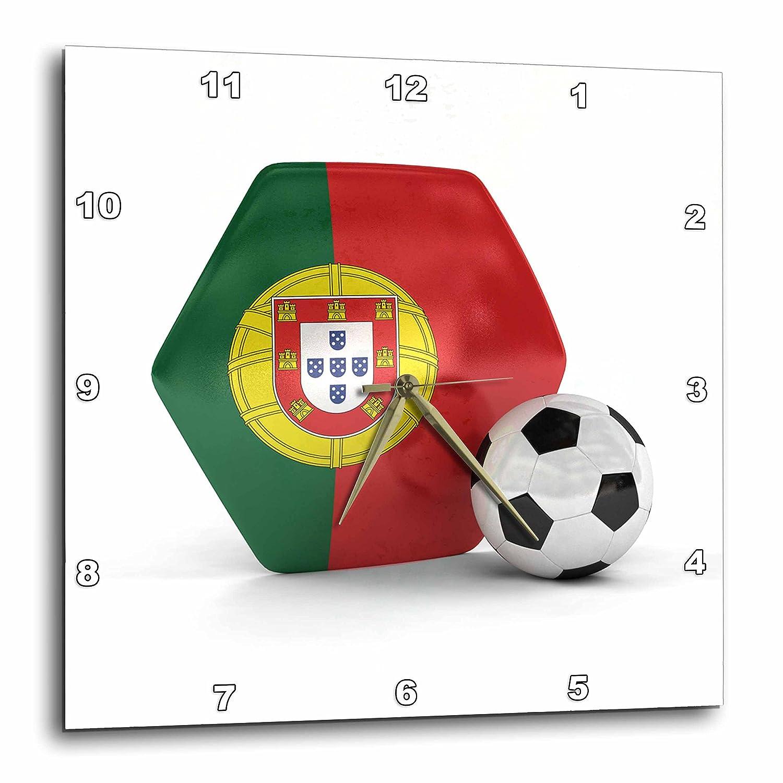 3dRose DPP 181913 _ 1 Portugal Balón de fútbol Reloj de Pared, 10 ...