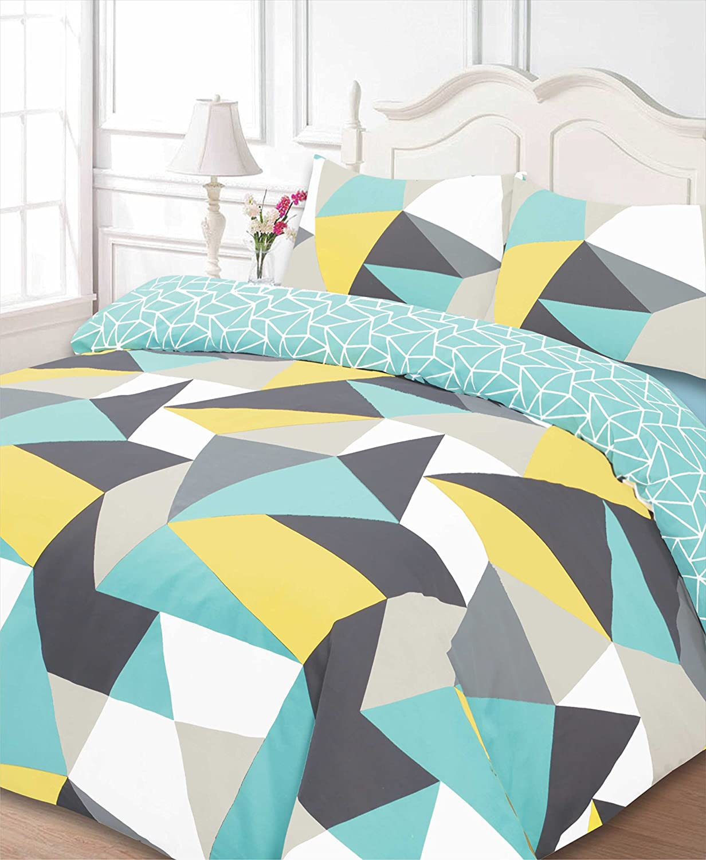 Dreamscene Funky Shapes Duvet Bedding Set With Pillowcases, Multicolour - Double SHAML02