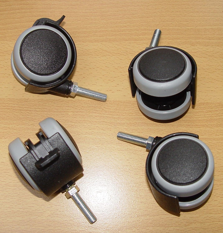 4 Stü ck Mö belrolle 50mm Hartbodenrolle Gummi Gewinde M8x30 Lenkrollen Feststellbar DELEX-Rollen