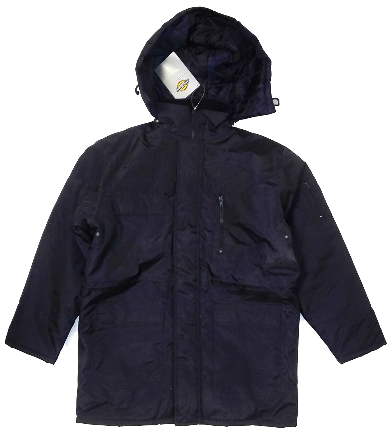 Dickies Mens Security Jacket Water Resistant Hooded Quilted Uniform Raincoat L, Large, Black