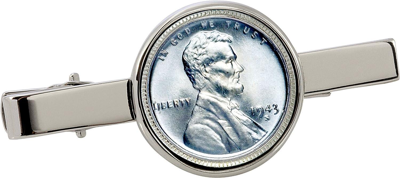 American Coin Treasures 1943 Lincoln Steel Penny Silvertone Coin Tie Clip