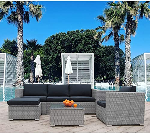 Polar Aurora 6pcs Patio Furniture Set PE Gray Rattan Wicker Sectional Outdoor Sofa Set Outside Couch w/Black Washable Seat Cushions Modern Glass Coffee Table