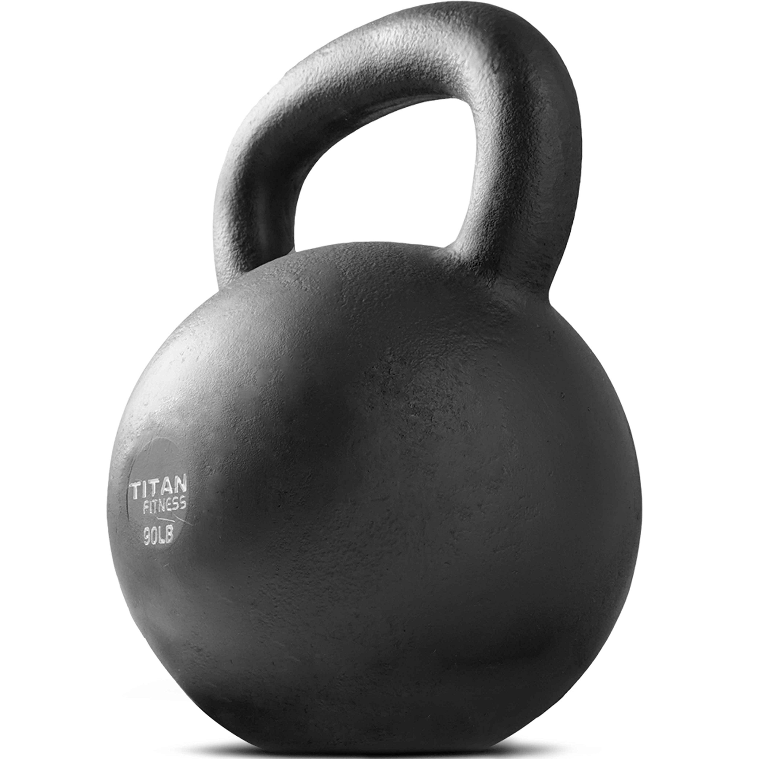 Cast Iron Kettlebell Weight 90 lb Natural Solid Titan Fitness Workout Swing