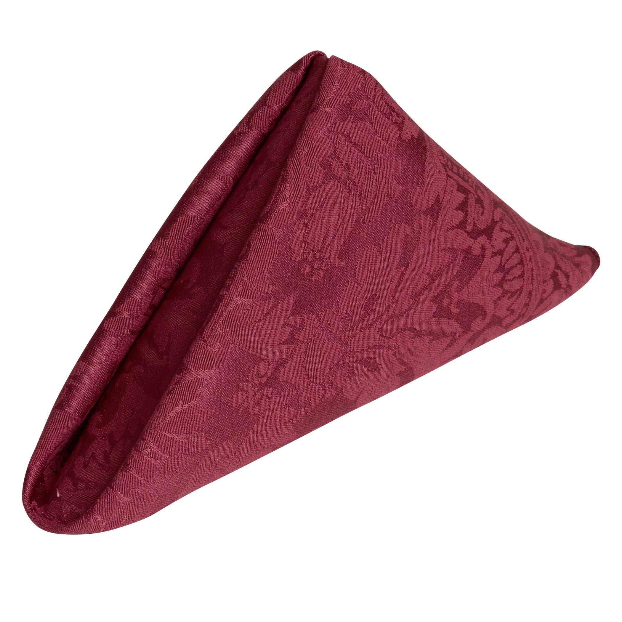Ultimate Textile (5 Dozen) Saxony 20 x 20-Inch Damask Cloth Dinner Napkins- Jacquard Weave Emblem Crest Design, Dark Red