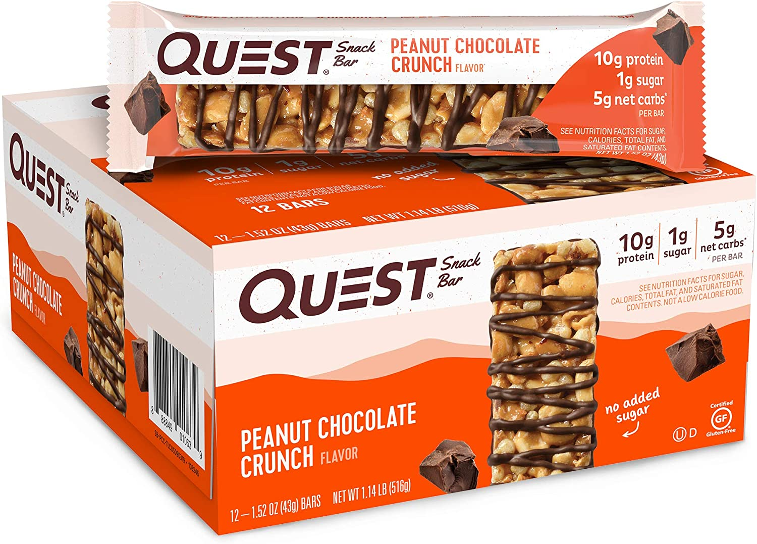 Quest Nutrition Peanut Chocolate Crunch Snack Bar, High Protein, Low Carb, Gluten Free, Keto Friendly, (12 Count of 1.52 oz Bars Each) 18.24 oz