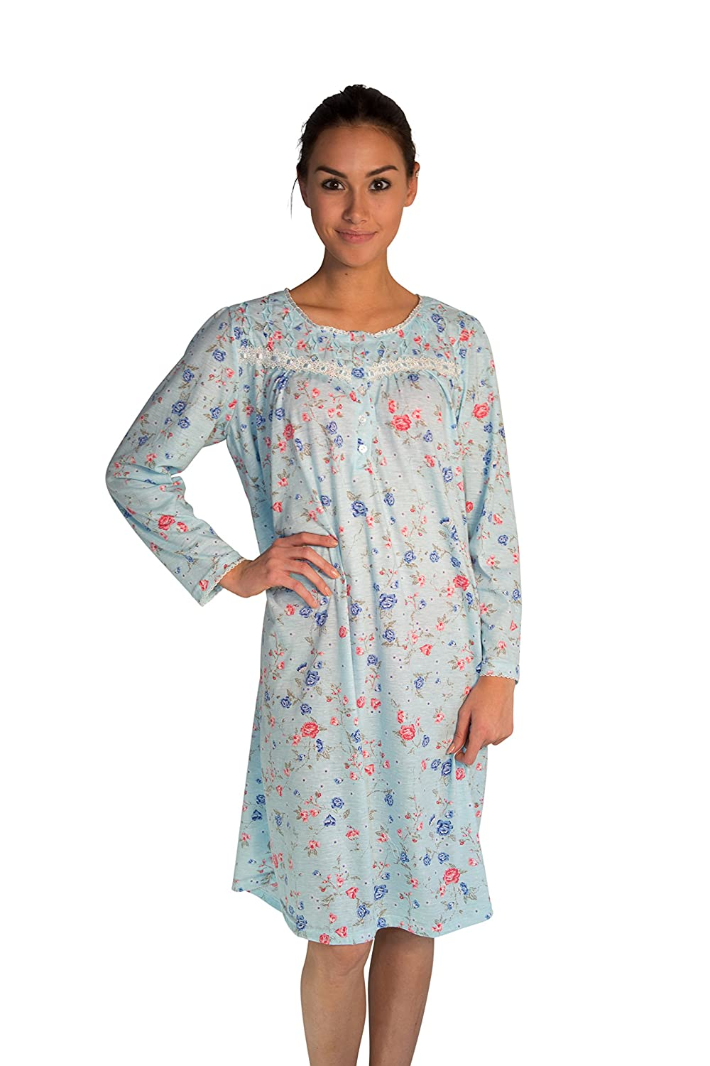 JOTW Long Sleeve Cotton Nightgown Dress with Flower-Print (649) at Amazon  Women s Clothing store  fe9605904