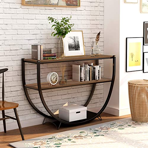 Hallway Table Decorations, Norcia 50 Wide Semi-Circular Console Table, Modern Industrial Entryway Table with 2-Tier Storage Shelves