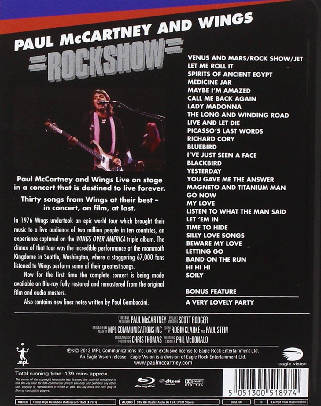 Paul McCartney And Wings: Rockshow [Blu-ray]: Amazon.es: McCartney, Paul, Wings, McCartney, Paul, Wings: Cine y Series TV