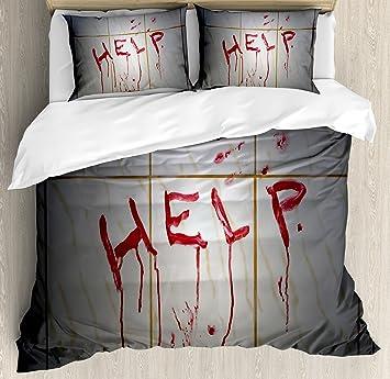 Horror Bettbezug Set By Ambesonne Bloody Helfen Note In Badezimmer