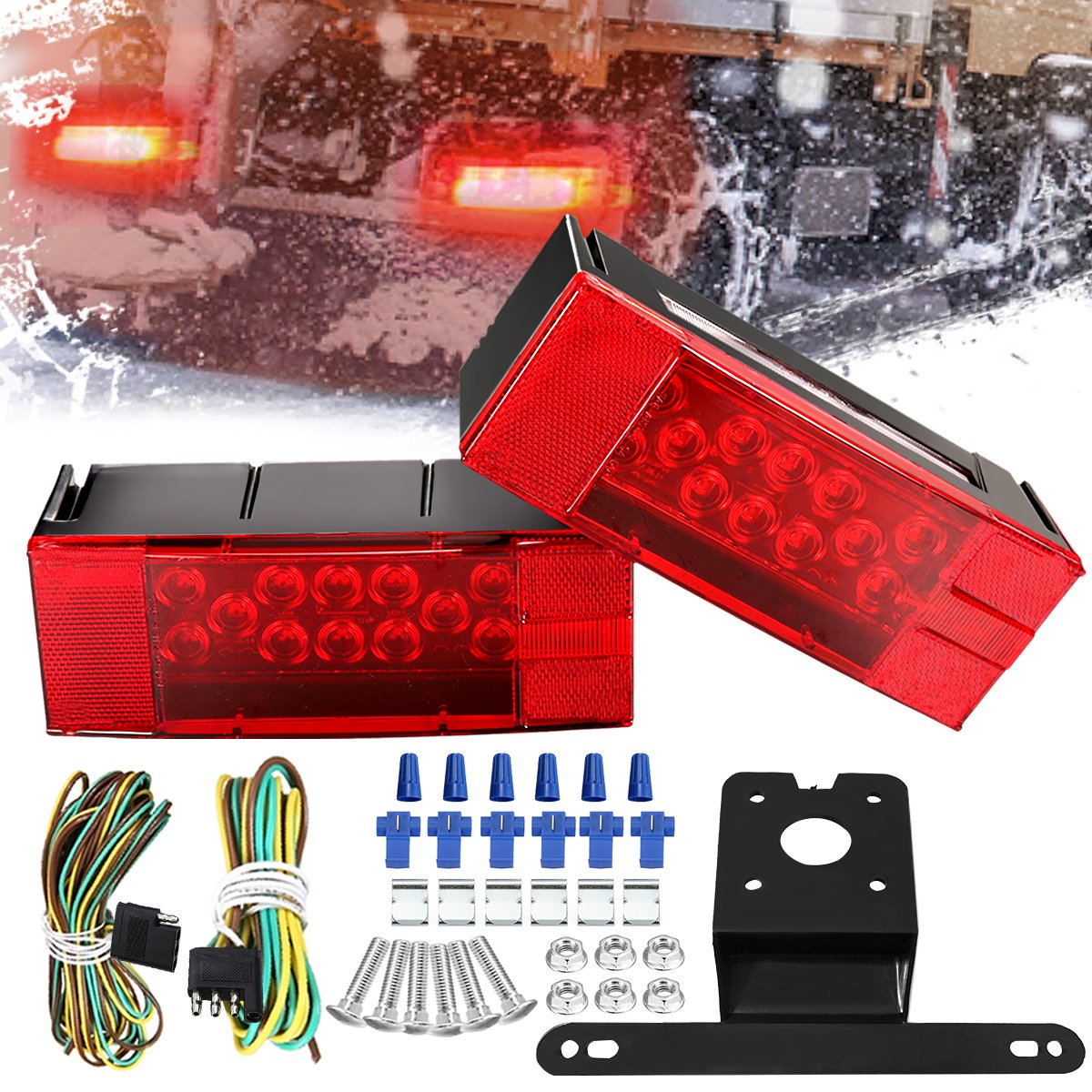 AMBOTHER Submersible Trailer Light Kit Tail Stop Brake License-Plate Turn Running Marker Lights Rectangular Low Profile Light for RV Boat Truck Marine Universal Red DC12V,2PCS,3 Year Warranty by AMBOTHER