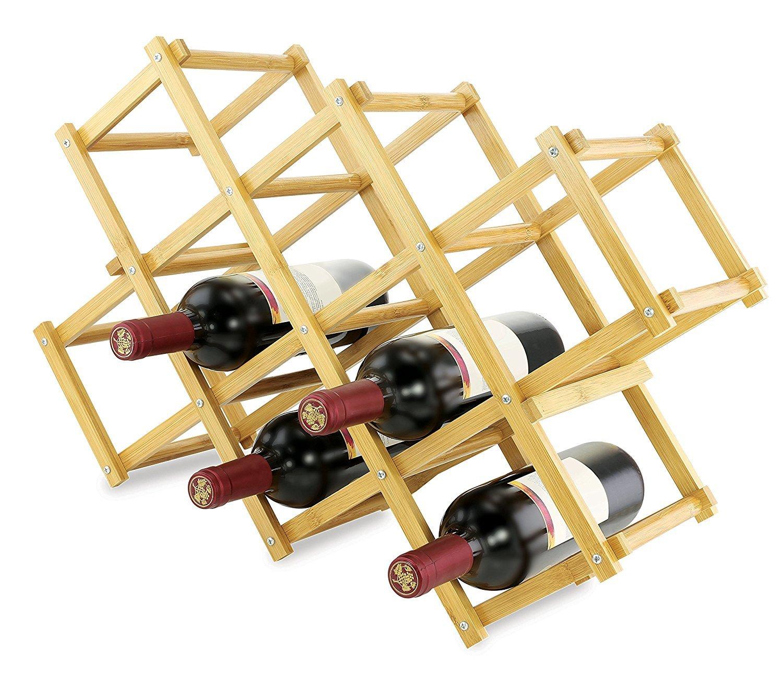 KOVOT Foldable Bamboo Wine Rack Wood KO-192