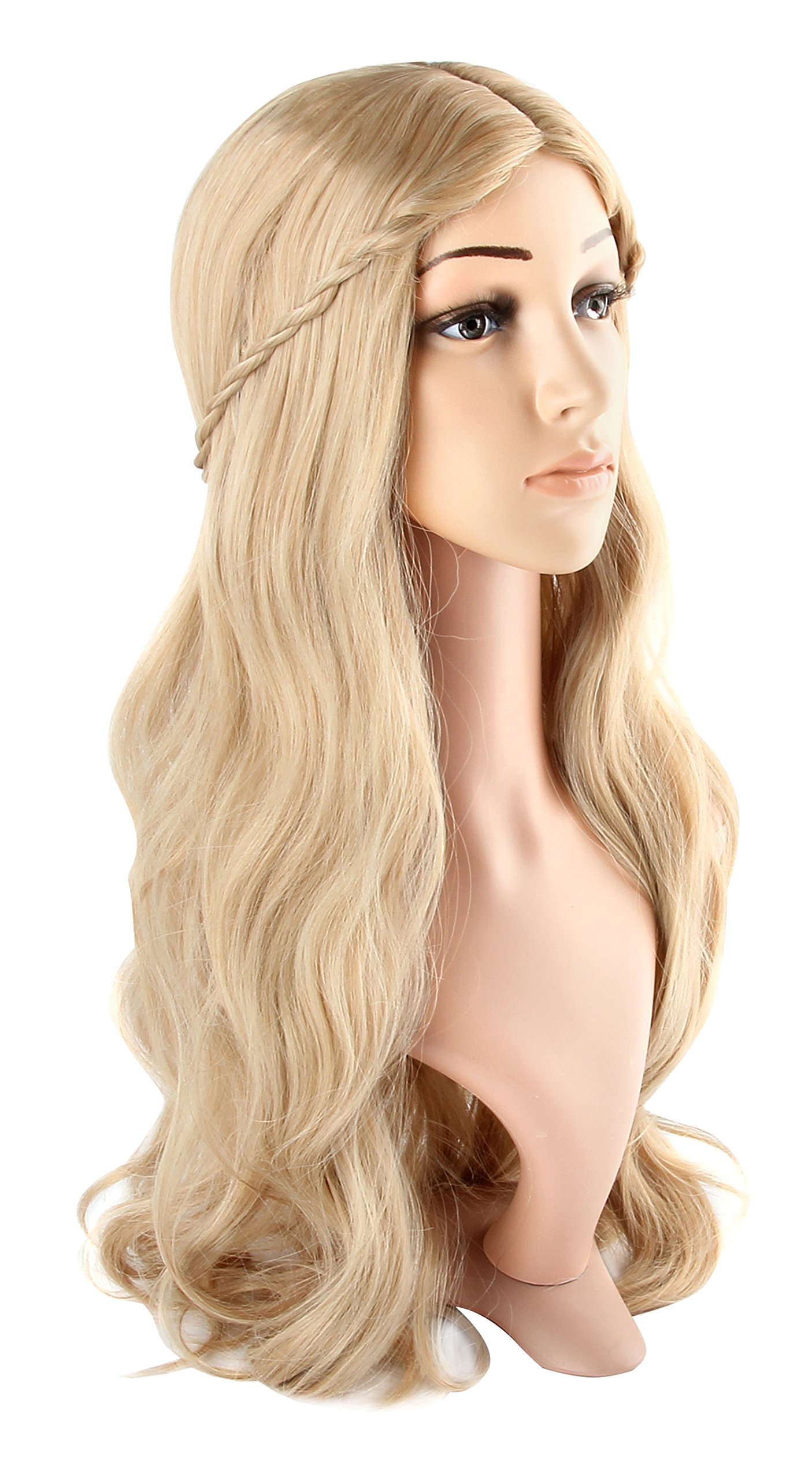 Acecharming Blonde Curly Wig Women's Long Curly Wigs Cosplay Party Wig with Wig Cap(Light Blonde)